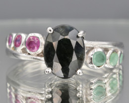 Natural Ruby , Sapphire, Emerald  and 925 Silver Ring