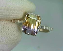 Natural bicolor Ametrine (bolivianite) 12.00 Carats 925 Silver Ring.