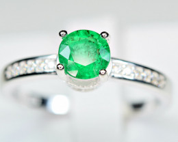Natural transparent Precious top highest green  Emerald ,CZ 925 Silver ring