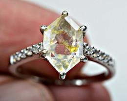 inside bubble moving fluorescent Petroleum diamond Quartz ,CZ 925 Silver Ri