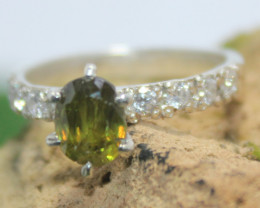 Natural Sphene and CZ Ring.