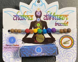 Throat Chakra Tree Of life lava Stone rosemary Diffuser Bracelet Code CHAKD