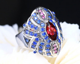 Mahenge Garnet and Fancy Pink Blue Sapphire Ring Size 8