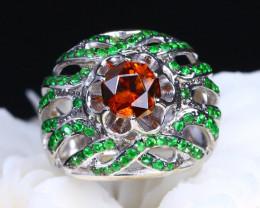 Sphene and Green Tsavorite Garnet Ring 6.5