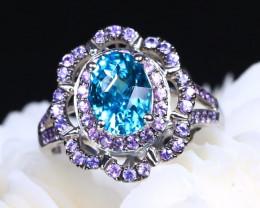 Blue Zircon and Fancy Unheated Purple Pink Sapphire Women Ring