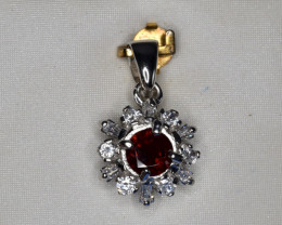 Natural Rhodolite, CZ and 925 Silver Pendant, Elegant Design