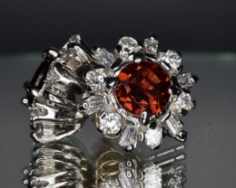 Natural Rhodolite, CZ and 925 Silver Earring, Elegant Design