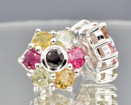 Natural Tourmaline , CZ and 925 Silver Earring, Elegant Design