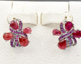 Heated Natural Ruby and 925 Silver Earring