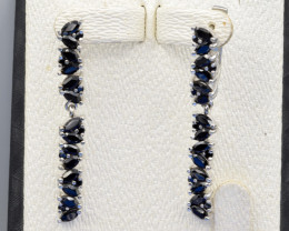 Heated Natural Sapphire and 925 Silver Earring, Elegant Design