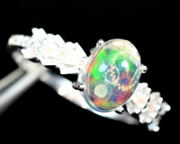 Natural Excellent Multi Flashy Fire Opal Cabochon ,CZ 925 Silver Ring