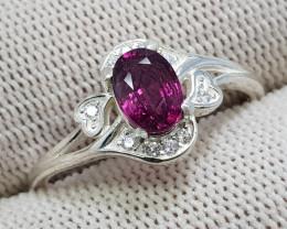 Natural Purple Rhodolite Garnet 10.90 Carats 925 Silver Ring N