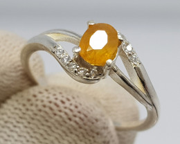 Natural Yellow Sapphire 11.30 Carats 925 Silver Ring N