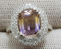 Natural Bio Color Ametrine 17.20 Carats 925 Silver Ring I