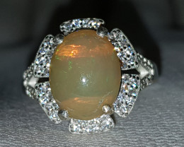 Natural Fire Opal 25.00 Carats 925 Silver Ring I