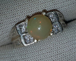 Natural Fire Opal 27.90 Carats 925 Silver Ring