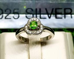 16ct Natural Tsavorite Garnet In 925 Sterling Silver Ring.