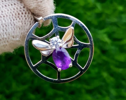17.50ct Natural Amethyst In 925 Sterling Silver Pendant.