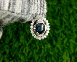 12.20ct Natural (Heated) Sapphire with CZ in 925 Sterling Silver Pendant