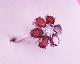 Natural Rhodolite Garnet Ring.