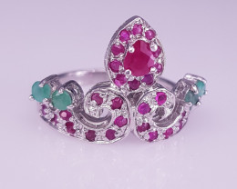 Fantastic design Ruby And Emerald Ring.