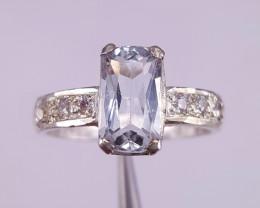 Natural Aquamarine and CZ Ring