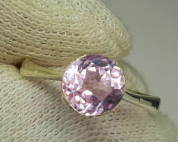 15 Carats pink oval kunzite 925 Silver Ring, 9x9x5 mm.