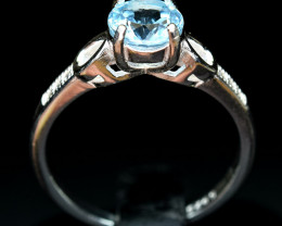 Irradiated Nice blue color Natural Topaz , CZ 925 Silver Ring