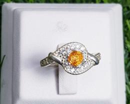 17.50ct Spessertite Garnet Ring In 925 Sterling Silver.