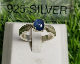 30ct Natural (Heated) Saaphire Cabochon In Handmde 18k Silver Ring.