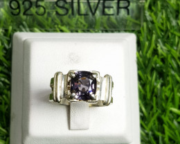 26.50ct Natural  Greyish Color Spinel in Hamdmade Silver Ring.