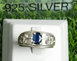 29.20ct Natural (Heated) Sapphire in 18k Handmade Silver Ring.