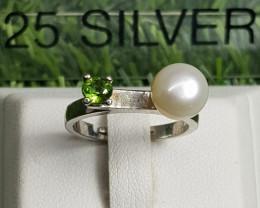 17.20ct Natural  Beautiful Tsavorite Garnet in 925 Sterling Silver Ring.