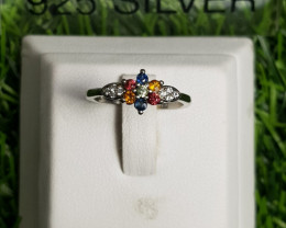 8.50ct Natural Multicolor Sapphires in 925 Sterling Silver Ring.