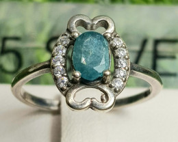 10ct Natural Grnadidierite with CZ in 925 Sterling Silver Ring.