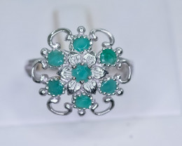 22.47 Crt Natural Emerald  925 Sterling Silver Ring