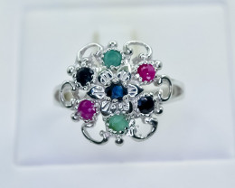23.48 Crt Natural Ruby Emerald And Sapphire 925 Sterling Silver Ring