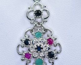 16.31 Crt Natural Ruby Emerald And Sapphire 925 Sterling Silver Pendant