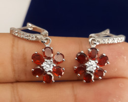 Natural Rodholite garnet with CZ Earring.