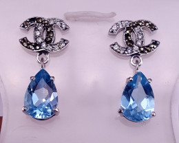 Natural Topaz Earring with CZ.