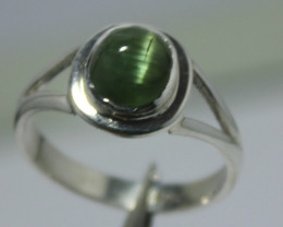 Natural Tourmaline Cateye Cabachon Ring.