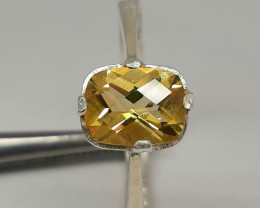 18.00 Carat citrine 925 Silver Ring, ring size 10.