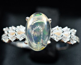 Natural Multi Watery Flashy Fire Opal Cabochon ,CZ 925 Silver Ring
