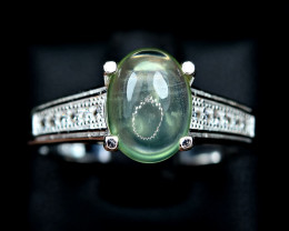Nice Ring Natural lustrous Nice color Prehnite , CZ 925 Silver Ring