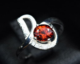 top Design Ring Natural top color lustrous spessertite garnet 925 Silver ri