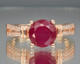 Natural Ruby Ring  with Cubic Zirconia and Silver925( pink gold coated)