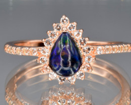 Natural Black Opal Ring and White Topaz with Silver925
