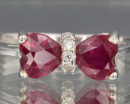 Natural Ruby , Cz and Silver Ring