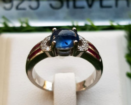 19.35ct Natural (Heated) Sapphire Cabochon with CZ in 925 Sterling Silver R