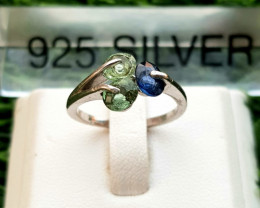 10.20ct Natura Tourmalines & (Heated) Sapphire in 925 Sterling Silver Ring.